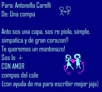 Antonella Carelli: carta de sus compañeras (del mismo colegio)