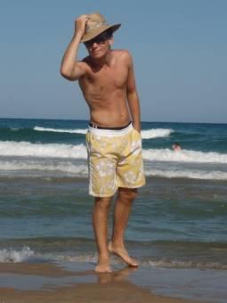 Charlie Bick en la playa