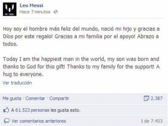 Messi publica en su Facebook Soy el hombre mas feliz del mundo tras el nacimiento de su primer hijo Thiago