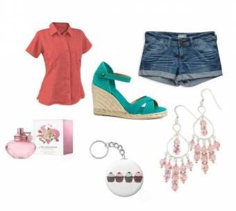 camisa color salmon,short de jean,perfume se shakira,zapatos turquesa,aretes rosados y llavero con dibujo de muffins.