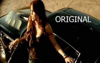 Miley Cyrus saliendo de un auto en su video Party In The usa  ORIGINAL